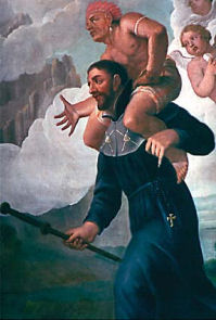 Portion of a mural of Francis Xavier and a dream