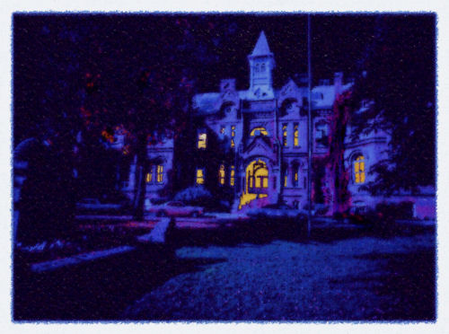 Brigham Young High School by moonlight