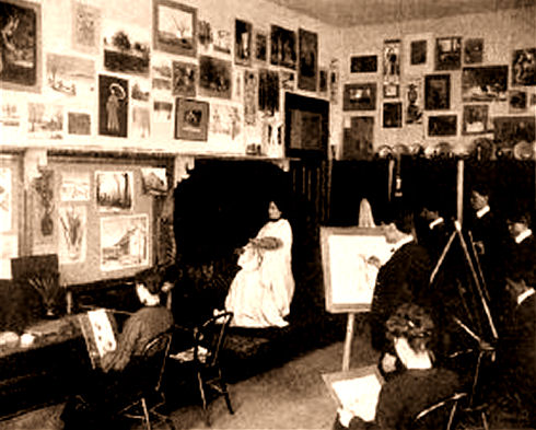 Interior of Probert Hall, art class in session.